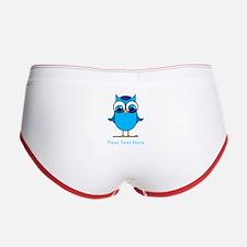 Personalized Blue Owl Women's Boy Brief