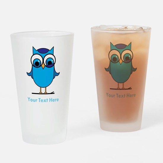 Personalized Blue Owl Drinking Glass