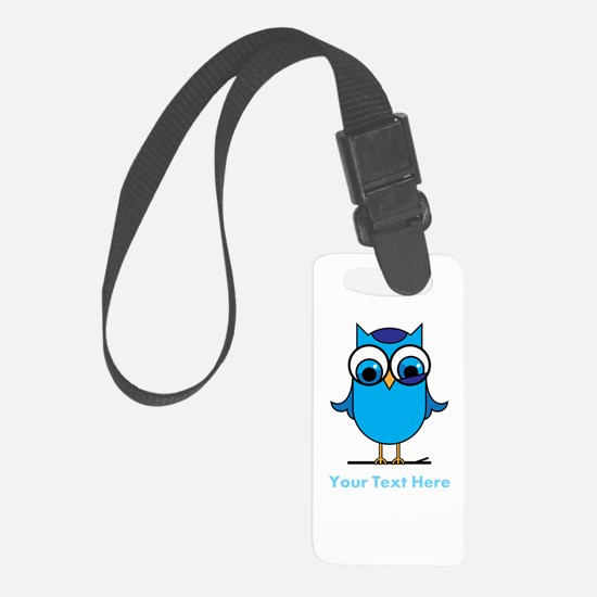 Personalized Blue Owl Luggage Tag