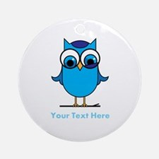 Personalized Blue Owl Ornament (Round)