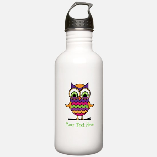 Customizable Whimsical Owl Sports Water Bottle