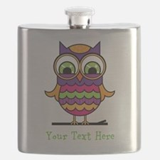 Customizable Whimsical Owl Flask