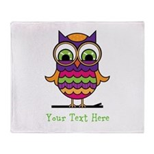 Customizable Whimsical Owl Throw Blanket