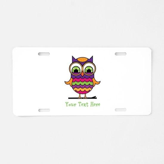 Customizable Whimsical Owl Aluminum License Plate