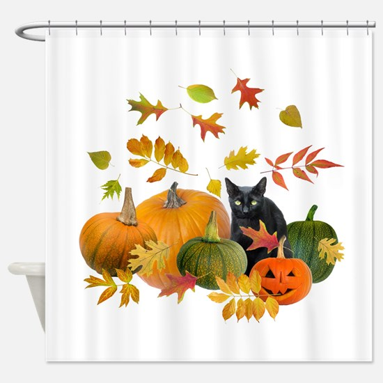 Black Cat Pumpkins Shower Curtain