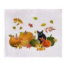 Black Cat Pumpkins Throw Blanket
