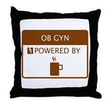 OB GYN Powered by Coffee Throw Pillow