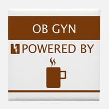 OB GYN Powered by Coffee Tile Coaster