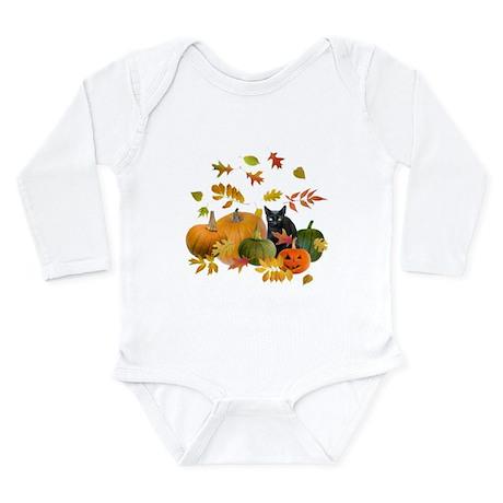 Black Cat Pumpkins Long Sleeve Infant Bodysuit