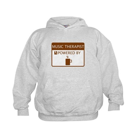 Music Therapist Powered by Coffee Kids Hoodie