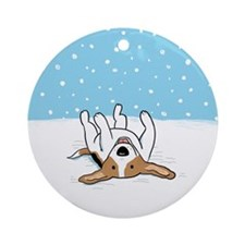 Happy Snow Beagle Ornament (Round)