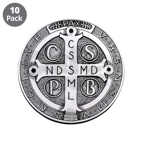 "Medal of Saint Benedict 3.5"" Button (10 pack)"