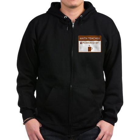 Math Teacher Powered by Coffee Zip Hoodie (dark)