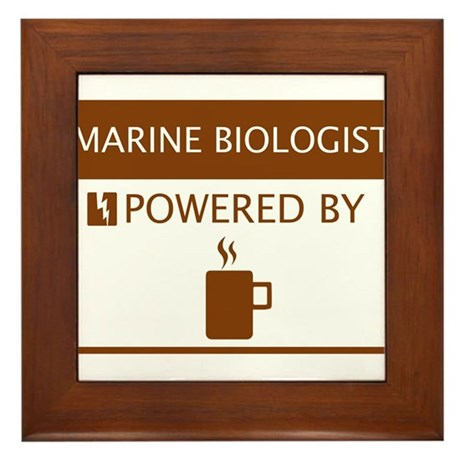 Marine Biologist Powered by Coffee Framed Tile