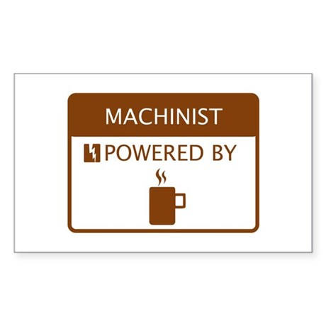 Machinist Powered by Coffee Sticker (Rectangle)