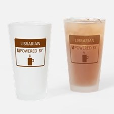 Librarian Powered by Coffee Drinking Glass