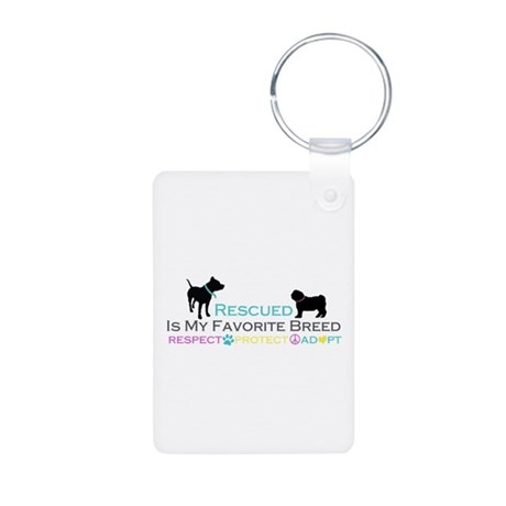 Rescued Is Favorite Breed Aluminum Photo Keychain