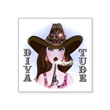 """Diva of a Cowgirl Square Sticker 3"""" x 3"""""""