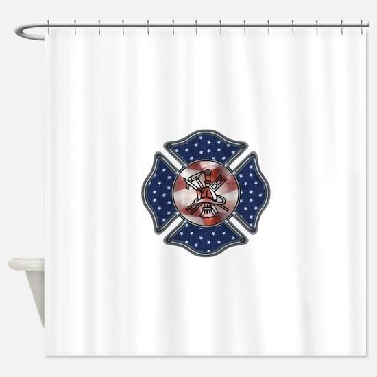 Patriotic Fire Dept Shower Curtain
