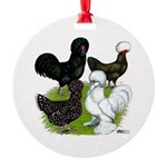 Four Crested Chickens Round Ornament