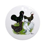 Four Crested Chickens Ornament (Round)