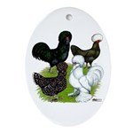 Four Crested Chickens Ornament (Oval)