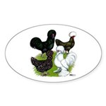 Four Crested Chickens Sticker (Oval 50 pk)