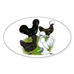 Four Crested Chickens Sticker (Oval 10 pk)