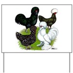 Four Crested Chickens Yard Sign