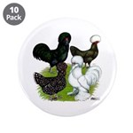 "Four Crested Chickens 3.5"" Button (10 pack)"