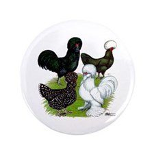 """Four Crested Chickens 3.5"""" Button"""
