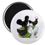"Four Crested Chickens 2.25"" Magnet (10 pack)"