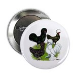 "Four Crested Chickens 2.25"" Button (10 pack)"