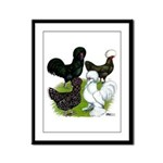 Four Crested Chickens Framed Panel Print