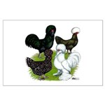 Four Crested Chickens Large Poster
