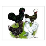 Four Crested Chickens Small Poster