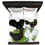 Four Crested Chickens King Duvet