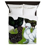 Four Crested Chickens Queen Duvet
