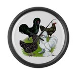 Four Crested Chickens Large Wall Clock