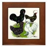 Four Crested Chickens Framed Tile