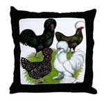 Four Crested Chickens Throw Pillow