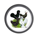 Four Crested Chickens Wall Clock