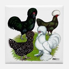 Four Crested Chickens Tile Coaster