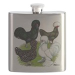 Four Crested Chickens Flask