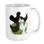 Four Crested Chickens Large Mug