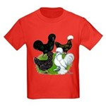 Four Crested Chickens Kids Dark T-Shirt