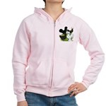 Four Crested Chickens Women's Zip Hoodie