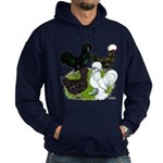 Four Crested Chickens Hoodie (dark)