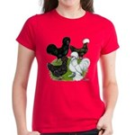 Four Crested Chickens Women's Dark T-Shirt