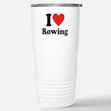I Heart Rowing: Stainless Steel Travel Mug